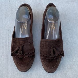 Bally mens tassels loafers suede leather size 8.5M